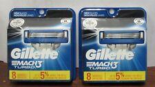Gillette MACH3 TURBO Refills Razor Blades 16 (2 X 8) Cartridges Mach 3 NEW