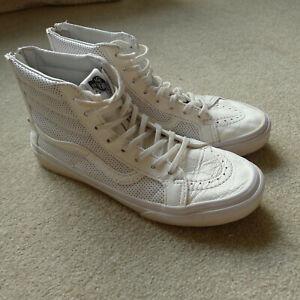 Vans White Leather Sk8-Hi Slim Zip Shoes Unisex UK 5