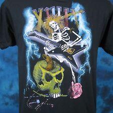 vtg 80s HAIR METAL CONCERT SKELETON CARTOON PAPER THIN T-Shirt M/L cowboy rock