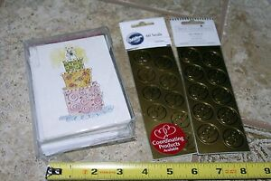 Stationery lot Thank you notes & gold wedding hearts seals stickers anniversary
