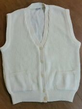 Vtg Andrew St John Cable Wool Knit Sweater Vest Button Up Two Pocket ivory