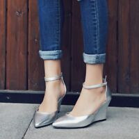 Women Buckle Wedge High Heels Pointed Toe Pumps Solid Ankle Strap Mary Jane Shoe