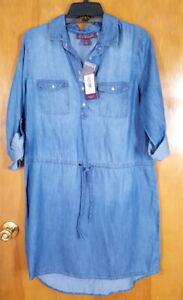 GLORIA VANERBILT Size M Blue Chambray ASHLEIGH Drawstring Shirt Dress