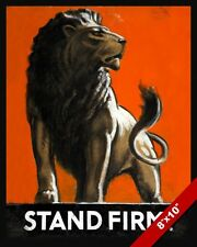 WWII BRITISH LION STAND FIRM PROPAGANDA POSTER PAINTING REAL CANVAS ART PRINT