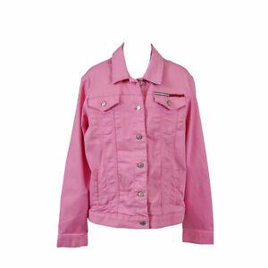 Tommy Hilfiger Women's Denim Button Front Jacket Pink Size Medium