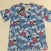 Tropical Flowers V Neck Scrub Top Size Small Blue New 100% Cotton