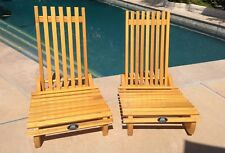 2 Vintage Mid Century Modern Wood Slat Low Sitting Chairs - New