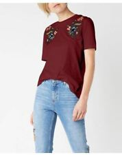 Embroidered Floral Maroon Cotton Top #A1161