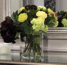 """NEW ARTIFICIAL SILK FLOWER AUBERGINE HYDRANGEA ARRANGEMENT """"CLEAR WATER"""" VASE"""