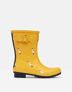 Joules Womens Molly Mid Height Printed Wellies - Gold Ducks - Adult 7