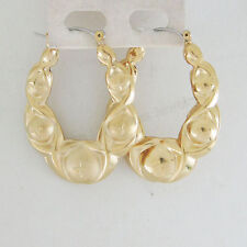 "HOLLOW HOOP TALL 43MM 1.7"" OVAL SHRIMP EARRING STAR 18K YELLOW GOLD GP OVERLAY"