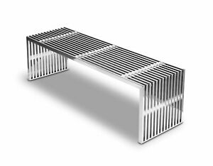 Stainless steel seating bench steel sideboard, steel ottoman, steel coffee table