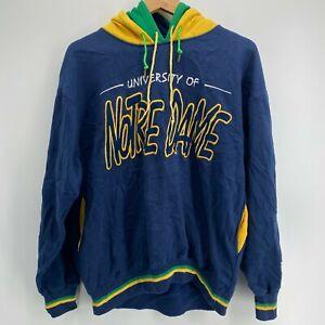 Starter Hoodie Men's Size M Blue University of Notre Dame Vtg 90s Color Block