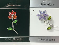 JEWELINE Cubic Zirconia Sparkling Orange & Purple Flower Brooches NEW 2pcs #C85