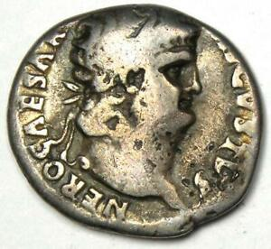 Ancient Roman Nero AR Denarius Coin 65 AD - Good Fine - Rare Coin!
