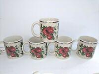5 Coffee Mugs by SAKURA Oneida Excell Stoneware SONOMA Fruit Stoneware