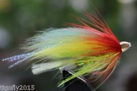 24 pcs Yellow&Green Cone Head Tube Flies Salmon And Sea Trout Fly Fishing Lures