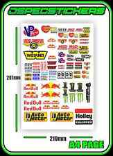 SCALE STICKER SHEET R/C CRAWLER 1/10 DRIFT DRAG CAR BRAND ENERGY DRINK LOGOS