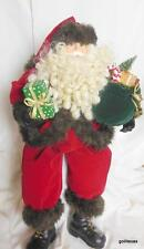 "Big Shelf Sitter Santa with Toy Bag and Tree Velvet Outfit 24"" Total"