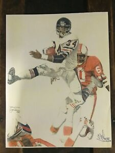 Walter Payton Chicago Bears Lithograph by Stephen Jordan signed and numbered