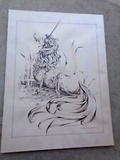 Vintage 1974 Nancy Chien Eriksen Lithograph Unicorn Lying in Grass HARD TO FIND