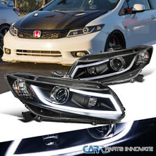 Fit 12-15 Honda Civic 2/4Dr Replacement Black Projector Headlights+LED Bar