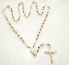 """5mm 25""""  Mens Cross Crucifix Rosary Chain Necklace Real 14K Tri-Color Gold"""