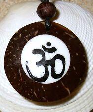 OM OHM AUM SYMBOL SIGN PENDANT CORD NECKLACE BUDDHA REIKI MEDITATION men women