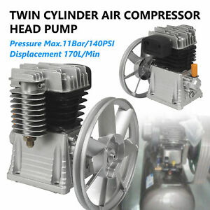 Aluminum Air Compressor Pump for 2 HP Motor 140PSI Twin Cylinder 1 Stage