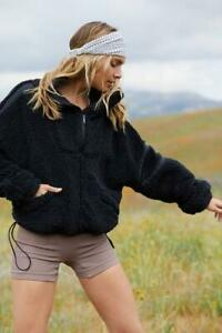 Free People Nantucket Fleece Pullover Top, Black, Small, RRP $98