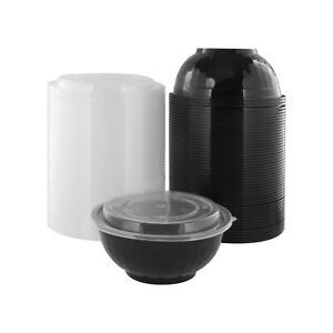 Wholesale Lot Bulk Plastic Diamond Bowl Black Base with Clear Lid 50-150 Pack
