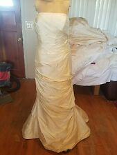 Angelina Faccenda Wedding Dress Size 14 Strapless Beaded bodice hand woven silk