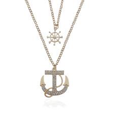 Ancre AVIRON Collier chaîne d'ancre strass diamant style Ancre double chaîne