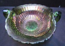 "Vintage Northwood Carnival Glass Green Luster Flute 2 Handled 6"" Bon Bon Dish"