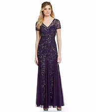 Adrianna Papell AMETHYST Purple Beaded Short Sleeve A-line Gown NWT Size 4 $329
