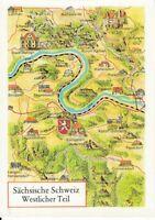 uralte AK Motivkarte Landkarte Sächsische Schweiz Westlicher Teil Gohrisch //36