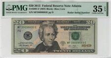 2013 $20 Federal Reserve Note Fr.2097-F Radar Serial PMG CHOICE VERY FINE 35 EPQ
