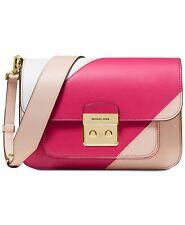 MICHAEL Kors Sloan Editor Tricolor Colorblock Shoulder Bag Pink Gold  NEW!!