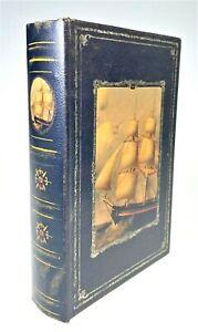 Nautical Sailing Ship Faux Book Hidden Storage Stash Old Time Clipper Sail Boat