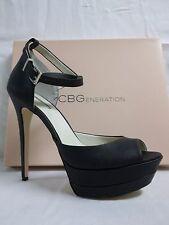 BCBGeneration BCBG Size 10 M Vix Black Leather Open Toe Heels New Womens Shoes