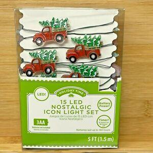 Holiday Time 15 LED Nostalgic Icon Light Set Red Truck 5 FT. Timer Batteries