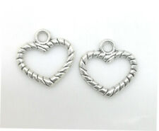 Tibetan Silver Charms pendant Heart-shaped for necklace Jewelry 35pcs