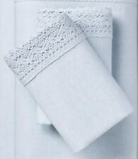 TWO Simply Shabby Chic STANDARD PILLOWCASES Blue Crochet Lace Linen Cotton  NEW