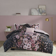 NEW ~ COZY CHIC SOFT SHABBY PINK PURPLE BLACK FLOWER ROSE COUNTRY COMFORTER SET