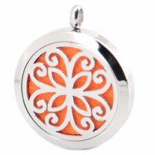 Elegant Scroll Flower Diffuser Necklace Locket Stainless Still 10ml Oil 11 pads