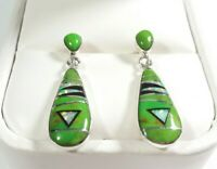 "925 STERLING SILVER SMALL GREEN TURQUOISE & OPAL 1 3/16"" x 5/16"" POST EARRINGS"
