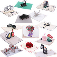 3D Rose Greeting Card Up Paper Cut Father's Day Wedding Valentines Postcard