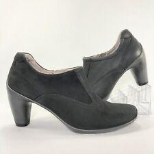 Ecco Womens Black Nubuck Leather Side Zipper Rubber Heel Ankle Boots Size 38 NWD