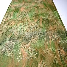 "Vintage Kimono Fabric Silk Green Small Flower Classic 162cm 63.7"" inches Q61"