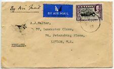 CEYLON AIRMAIL KG5 50c SINGLE FRANKING 1937 to GB